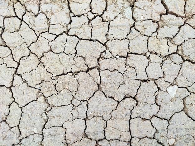 ひびの入った乾燥した地球の地面の土壌の背景