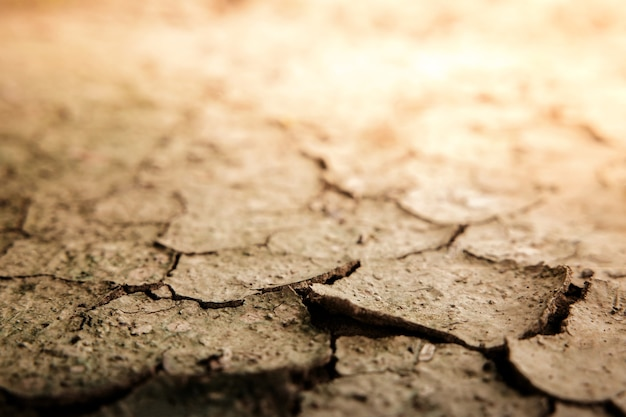Cracked dry soil ground ecology system crisis global warming issues concept