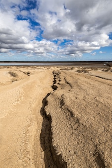 Cracked earth, consequences of earthquake