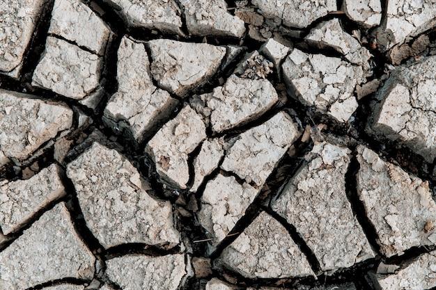 금이 간 지구, 금이 간 토양. 지저분한 건조 크래킹 마른 땅의 질감입니다. 지구 온난화 효과. 확대