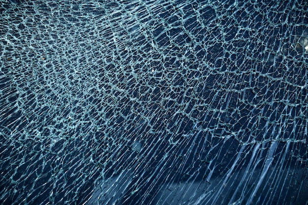 Cracked glass from car crash accidental