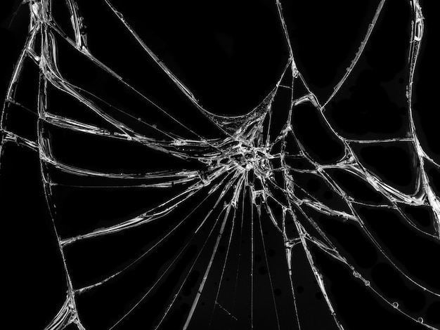 Cracked glass texture on black background