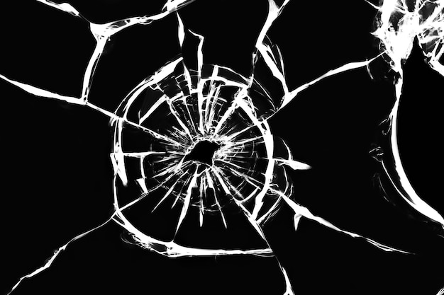 Cracked glass on a white surface