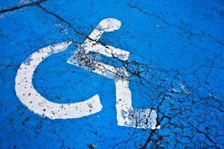 Cracked handicap sign  wheel