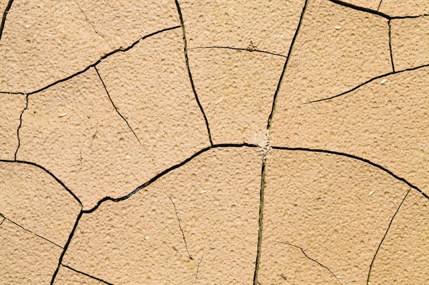 Cracked soil during a drought and lack of rain on the territory of an agricultural field