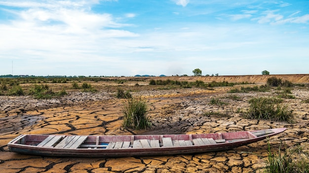 Cracked soil from drought and wooden boat on the ground