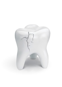 Cracked tooth on white surface