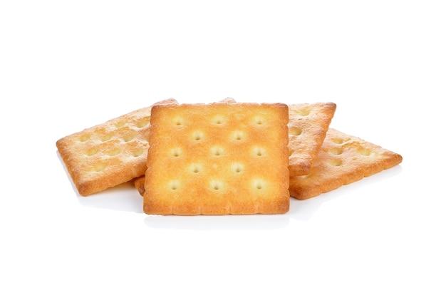 Cracker печенье, изолированных на белом фоне