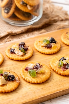 Cracker biscuit with dried fruits