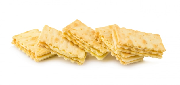 Cracker with creamy layer isolated on white background