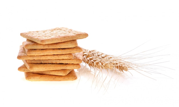 Crackers isolated on white.