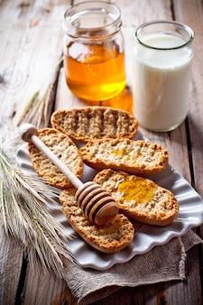 Crackers, milk and honey