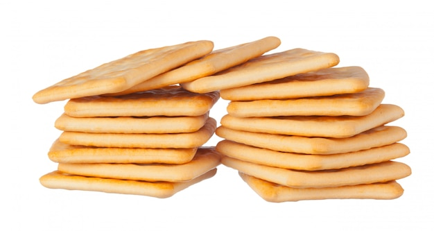 Crackers pile on white