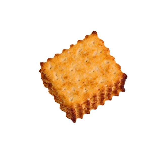 Crackers with sesame seeds on a white background
