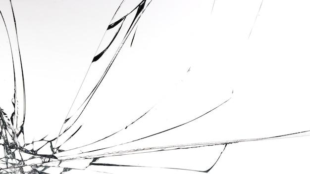 白い表面のガラスのひび割れ