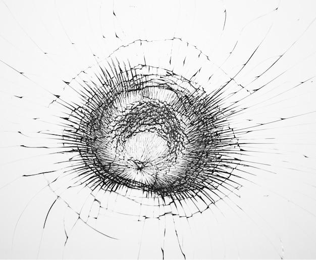 깨진 유리에 균열 패턴