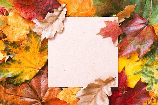Aaper空白フレームと紅葉の背景を作成します。秋のモックアップ。秋の構成、秋のコンセプト。フラットレイ、上面図、コピースペース