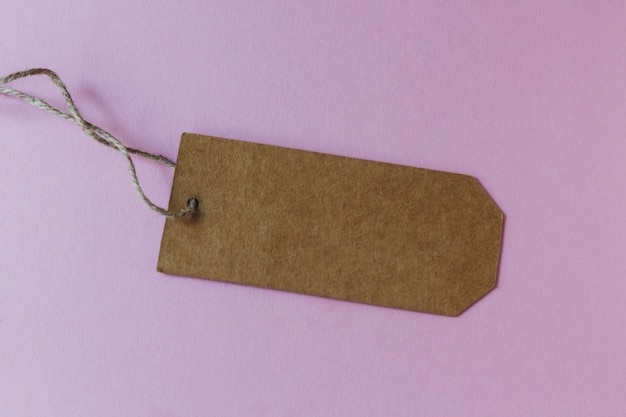Craft blank paper price tag or label set on the pink background
