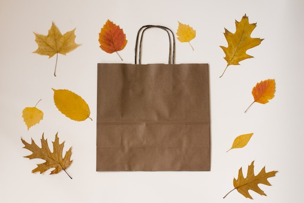 Craft brown shopping bag surrounded by yellow and orange fallen autumn leaves, the concept of autumn discounts and sales