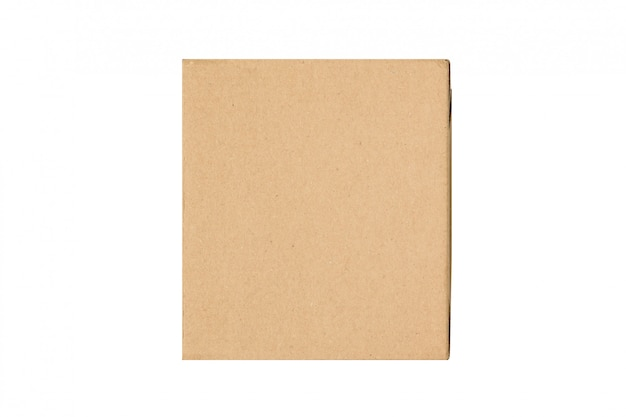 Craft brown square gift box isolate on white