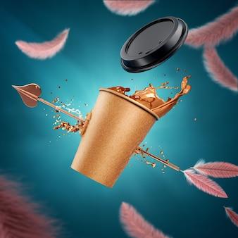 Создайте чашку с брызгами кофе латте. плакат ко дню святого валентина.