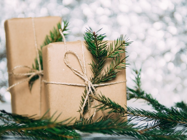 Craft gift boxes for christmas bokeh background