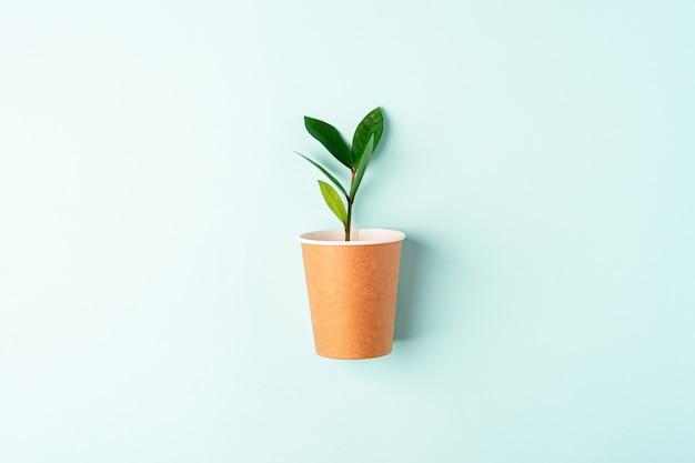 緑の葉とクラフトペーパーコーヒーカップは、上面図を発芽します。フラットレイゼロウェイスト、環境にやさしい、天然有機プラスチックフリーのコンセプト。