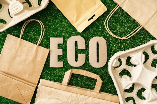 Эко-сумка из крафт-бумаги, экологически чистая концепция потребления