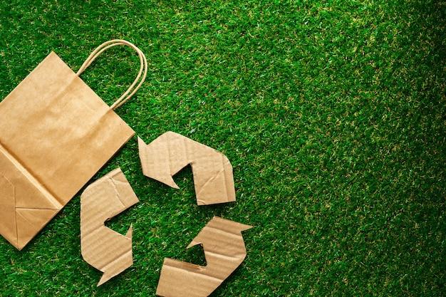 Craft paper eco bag ecofriendly concept of consumption