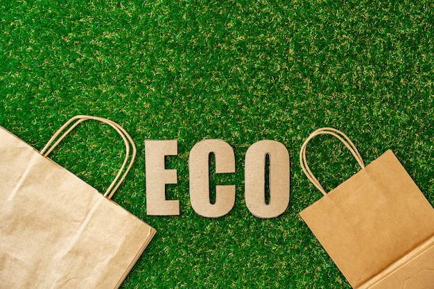 Craft paper eco bag ecofriendly concept of consumption