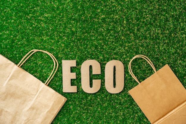 クラフト紙エコバッグ環境にやさしい消費コンセプト