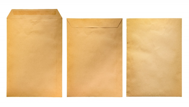 Craft paper envelope isolated