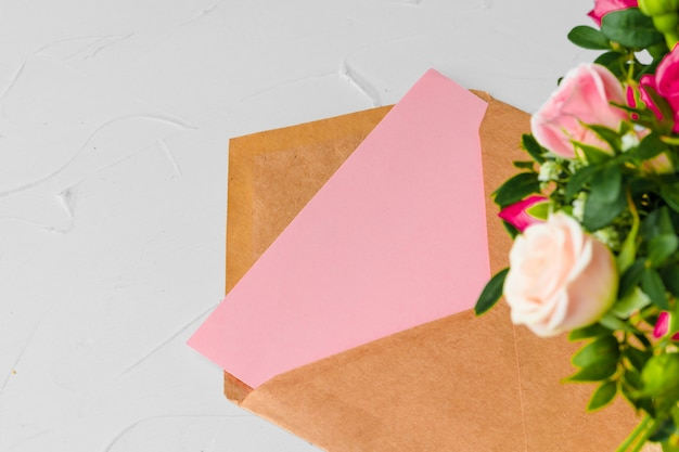 Craft paper envelope with bunch of flowers