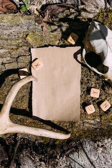 Шаблон макета из крафт-бумаги на фоне волшебной природы леса
