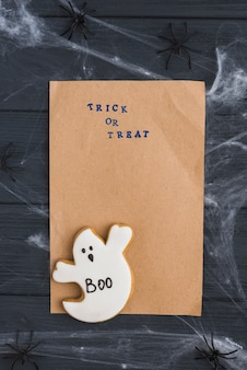 Craft paper near decorating spiders and gingerbread