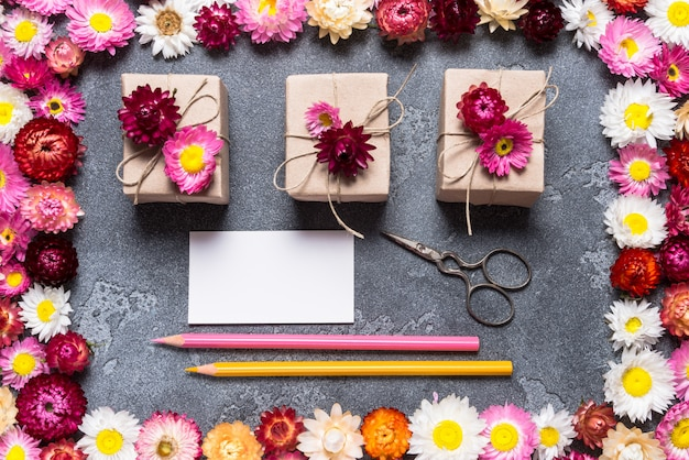 Craft supplies and business card for florist