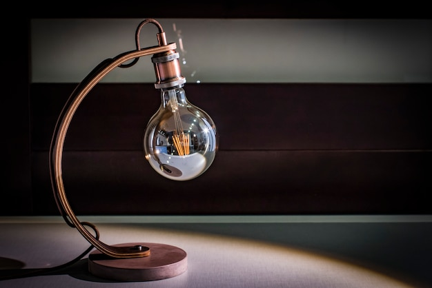 Craft table lamp-desk, edison-lamp, concrete platform, wenge wood leg, night lamp, loft lamp
