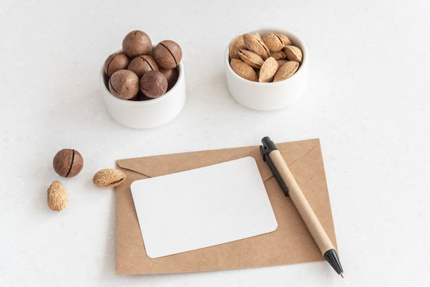 Crafted envelope and empty white blank Premium Photo