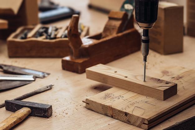 Craftsman working in his workspace