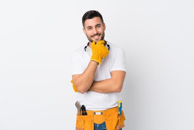 Craftsmen or electrician man posing