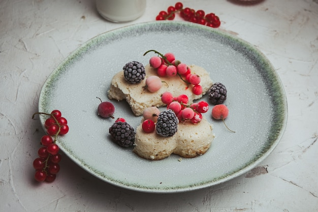Cranberries in a plate with blackberries and cookie high angle view on a white textured