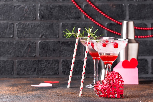 Cranberry margarita cocktail. valentines day drink