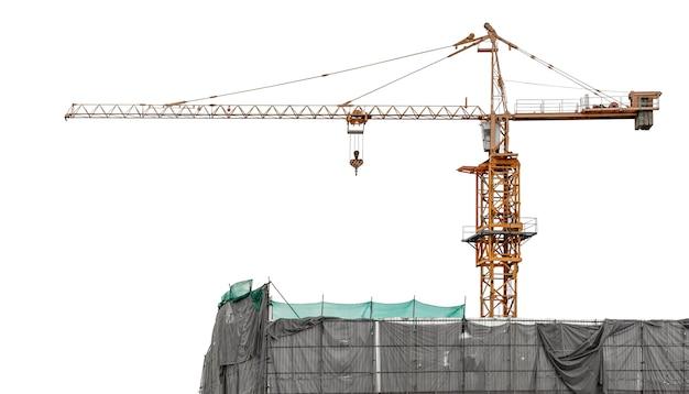 Кран для оборудования строительной площадки, изолированные на белом фоне с обтравочным контуром