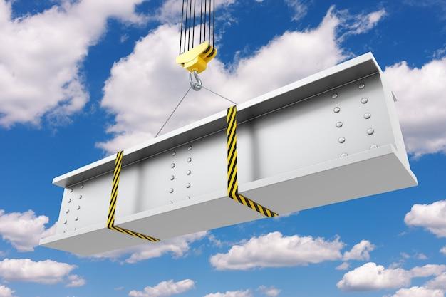 Подъем крюка крана стальной балки на фоне голубого неба. 3d рендеринг