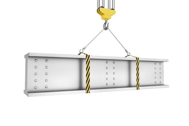 Подъем крюка крана стальной балки на белой предпосылке. 3d рендеринг