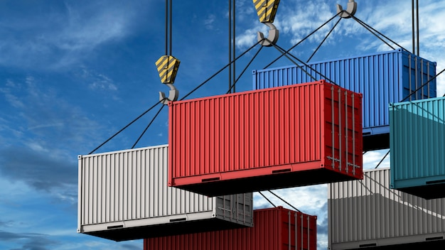 Crane hook with a cargo container for text, 3d render