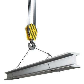 Крюк крана со строительной металлической балкой. Premium Фотографии