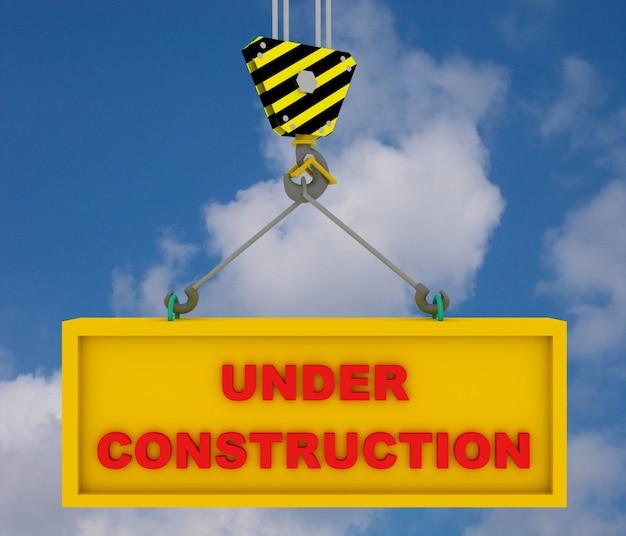 Crane hook with under construction sign . 3d rendered illustration