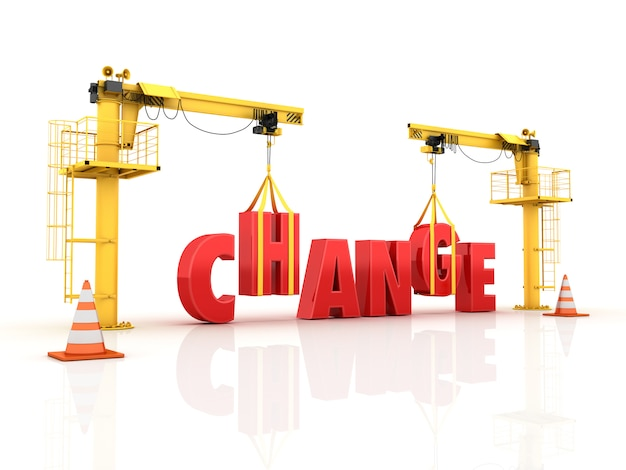 Cranes building the change word