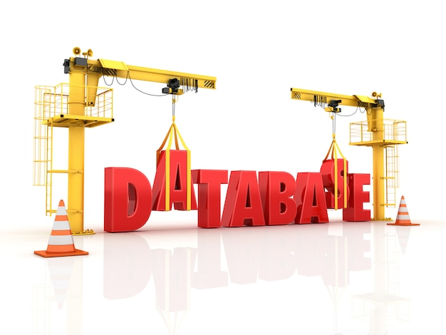 Cranes building the database word